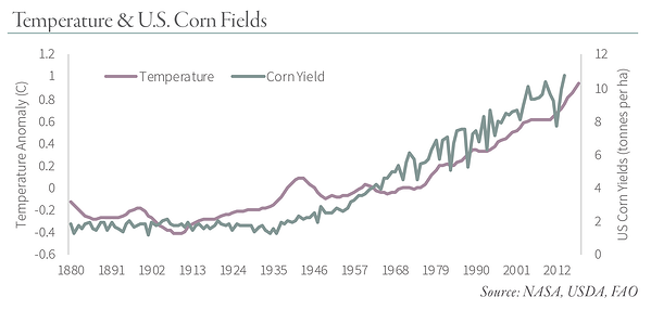 Temperature & U.S. Corn Fields Chart